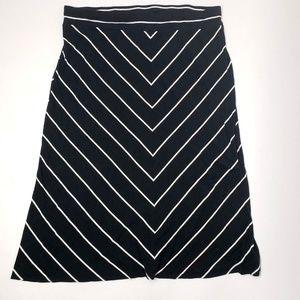 AVA & VIV Black White Striped Maxi Skirt - 3X